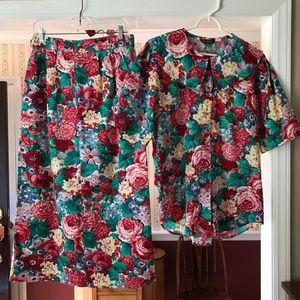 Vintage Willowbend 2pc Top Maxi Long Skirt Floral